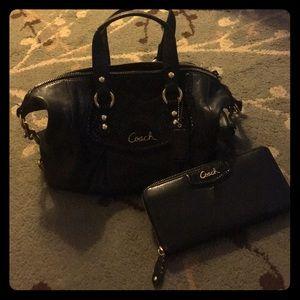 COACH black purse and wallet bundle